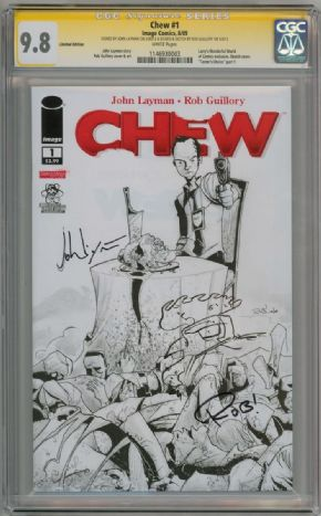 Chew #1 Variant CGC 9.8 Signature Series Signed John Layman Rob Guillory Poyo Sketch Image comic